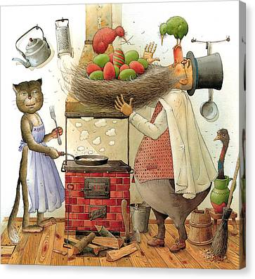 Pearman And Cat Canvas Print by Kestutis Kasparavicius