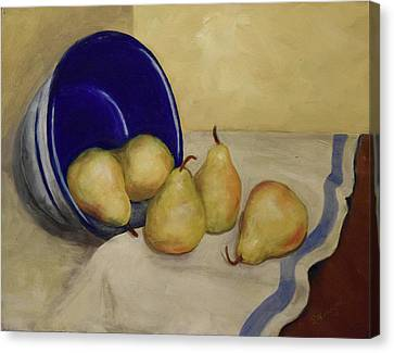 Pears And Blue Bowl Canvas Print by Sandra Nardone