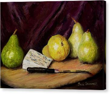 Canvas Print featuring the pastel Pears And Cheese by Jack Skinner
