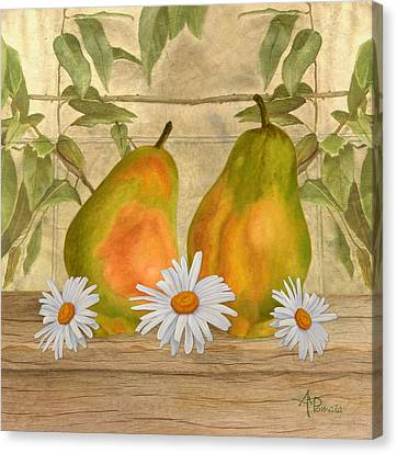 Pears And Daisies Canvas Print by Angeles M Pomata
