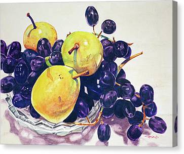 Horizontal Canvas Print - Pears And Grapes by Christopher Reid
