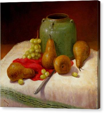 Canvas Print featuring the painting Pears And Grapes by Donelli  DiMaria