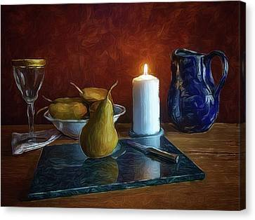 Canvas Print featuring the photograph Pears By Candlelight by Mark Fuller