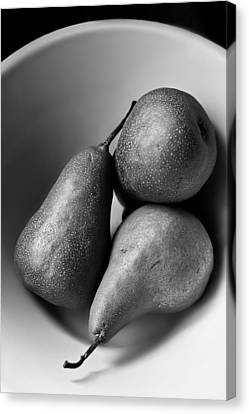 Interior Still Life Canvas Print - Pears In A Bowl In Black And White  by Maggie Terlecki