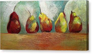 Pears In A Row Canvas Print