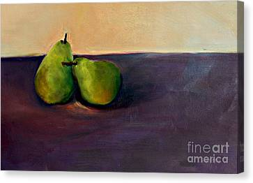 Pears One On One Canvas Print by Daun Soden-Greene