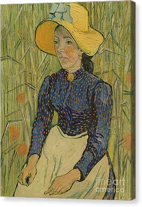 Peasant Girl In Straw Hat Canvas Print by Vincent van Gogh