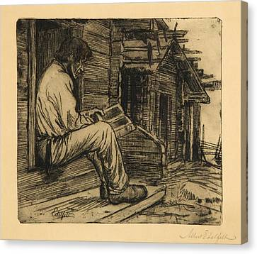 Peasant Reading The Bible Canvas Print by MotionAge Designs