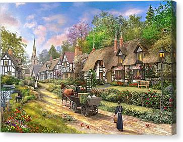 Peasant Village Life Variant 1 Canvas Print by Dominic Davison
