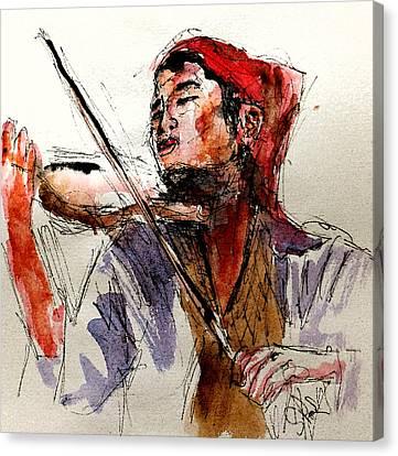 Peasant Violinist Canvas Print by Steven Ponsford