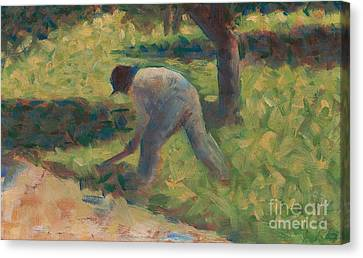 Peasant With A Hoe Canvas Print by Georges Pierre Seurat