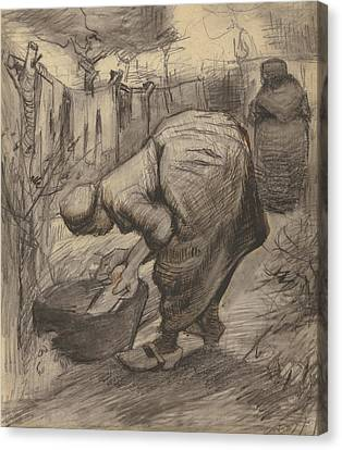 Peasant With Wash Basin In A Garden Canvas Print by Vincent Van Gogh