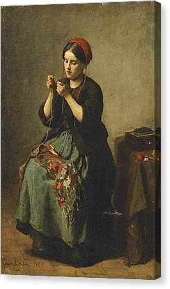 Peasant Woman Threading A Needle Canvas Print by Jules Breton