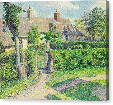 Peasants' Houses, Eragny Canvas Print by Camille Pissarro