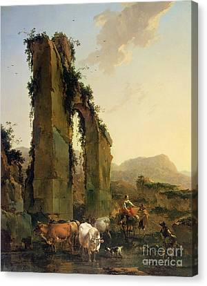Peasants With Cattle By A Ruined Aqueduct Canvas Print by Nicolaes Pietersz Berchem