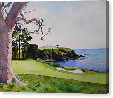 Pebble Beach Gc 5th Hole Canvas Print by Scott Mulholland