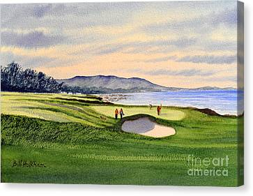 Canvas Print featuring the painting Pebble Beach Golf Course by Bill Holkham