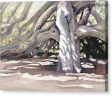 Canvas Print featuring the painting Pechanga Great Oak by Bonnie Rinier