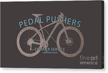 Pedal Pushers Courier Service Bike Tee Canvas Print by Edward Fielding