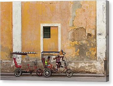 Pedicabs At Convento De Santa Clara Havana Cuba Canvas Print by Charles Harden