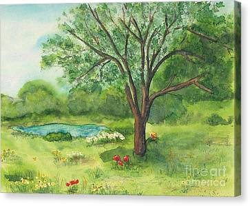 Canvas Print featuring the painting Pedro's Tree by Vicki  Housel