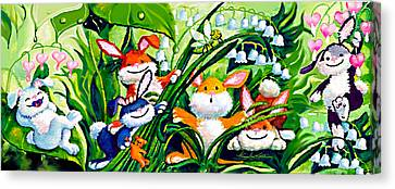 Peek-a-boo Bunnies Canvas Print