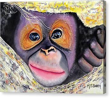 Orangutan Canvas Print - Peek A Boo by Maria Barry