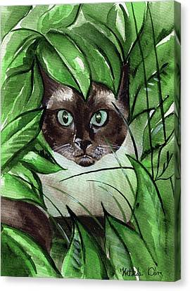 Canvas Print featuring the painting Peek A Boo Siamese Cat by Dora Hathazi Mendes