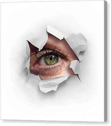 Idea Canvas Print - Peek Through A Hole by Carlos Caetano