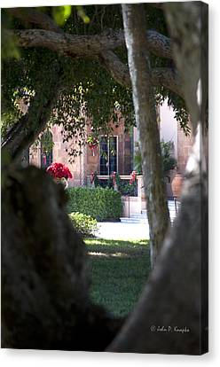 Canvas Print featuring the photograph Peeking At The Mansion by John Knapko