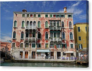 Peeling Red Stucco On A Venetian Building At San Basilio Waterbu Canvas Print