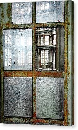 Canvas Print featuring the photograph Peeping Inside Factory Hall - Urban Decay by Dirk Ercken