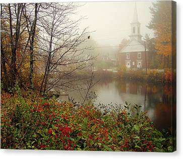 Foggy Glimpse Canvas Print by Betsy Zimmerli