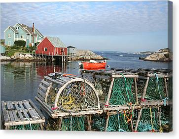Peggys Cove And Lobster Traps Canvas Print by Thomas Marchessault
