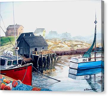 Canvas Print featuring the painting Peggy's Cove Harbour by Patricia L Davidson