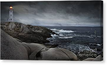 Peggys Cove Impending Storm Canvas Print by Nancy Dempsey