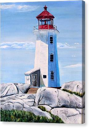 Canvas Print featuring the painting Peggy's Cove Lighthouse by Marilyn  McNish