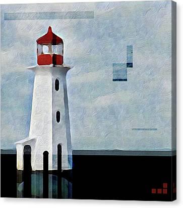 Peggys Cove Lighthouse Painterly Look Canvas Print by Carol Leigh