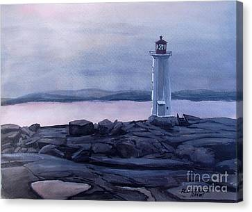 Canvas Print featuring the painting Peggy's Cove Lighthouse  by Patricia L Davidson