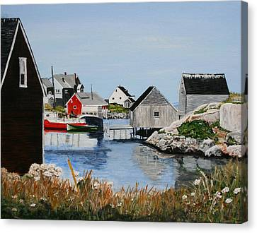 Peggys Cove Nova Scotia Canvas Print by Betty-Anne McDonald