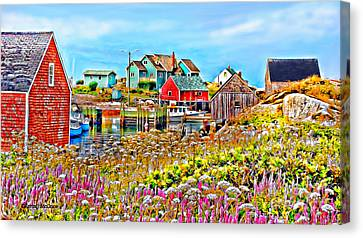 Peggy's Cove Wildflower Harbour Canvas Print by Kevin J McGraw