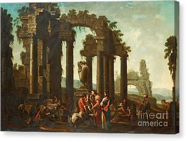 Peleus Consigning Achilles To Chiiron Canvas Print by Celestial Images