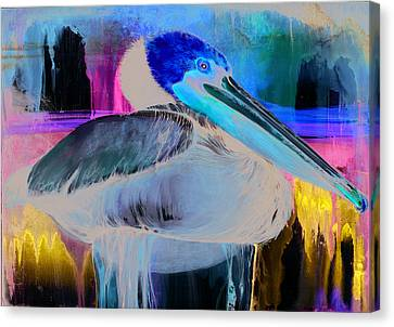 Canvas Print featuring the mixed media Pelican by Anthony Burks Sr