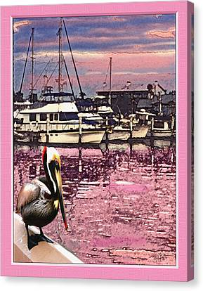 Pelican At Sunset 1 Canvas Print by John Breen