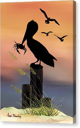 Pelican At Sunset Canvas Print by Anne Beverley-Stamps