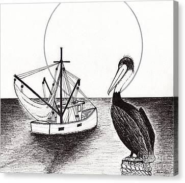 Pelican Fishing Paradise C1 Canvas Print by Ricardos Creations