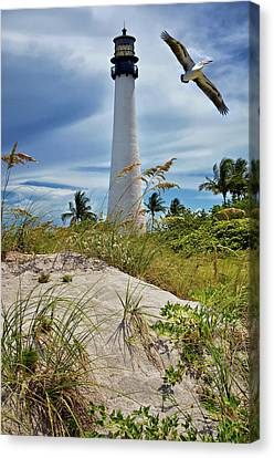 Pelican Flying Over Cape Florida Lighthouse Canvas Print by Justin Kelefas