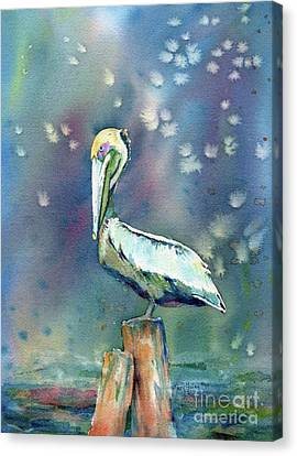 Canvas Print featuring the painting Pelican by Mary Haley-Rocks