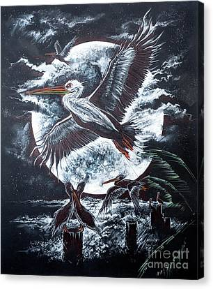 Pelican Moon Canvas Print by Scott and Dixie Wiley
