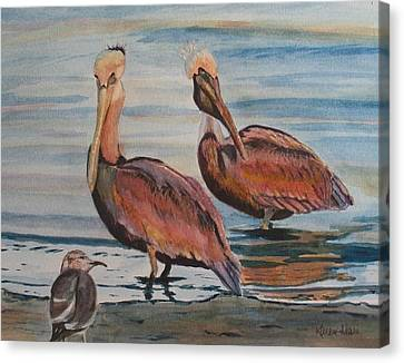 Canvas Print featuring the painting Pelican Party by Karen Ilari